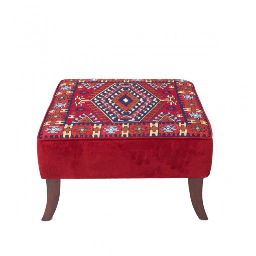 Embroidered Wool Ottoman