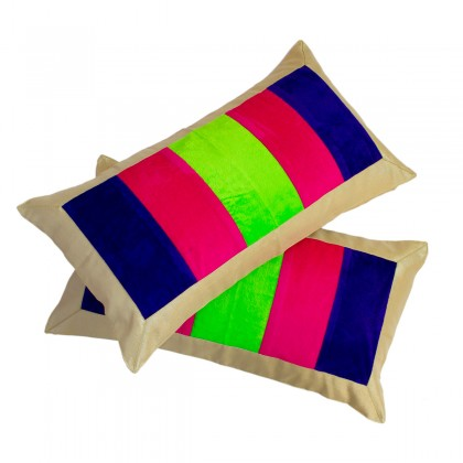 Designer Neon Hues Velvet Bands Cushion cover