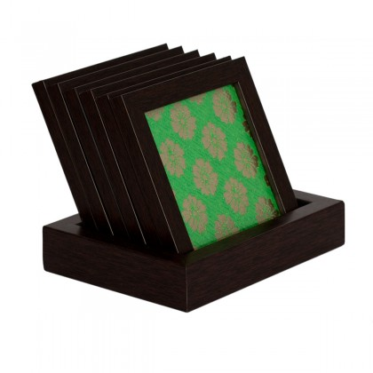 Designer Framed Green Brocade Fabric Coaster Set
