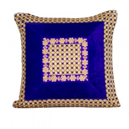 Royal blue velvet golden patchwork cushion