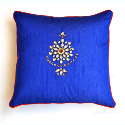 Handmade Royal Blue Diamond Kalangi Silk Cushion Cover