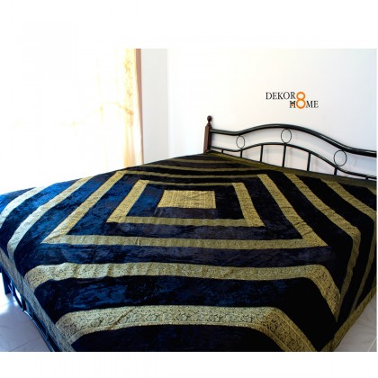 Royal Black Velvet Bed Cover