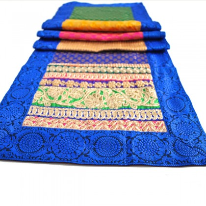 Blue Floral Brocade Rajwara Table Runner
