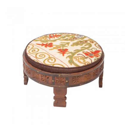Upcycled Hand carved Wooden Table with detachable cushion