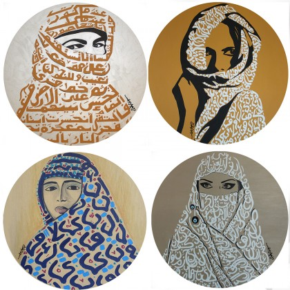 Glass Round Art Printed Coasters - DESERT LADIES